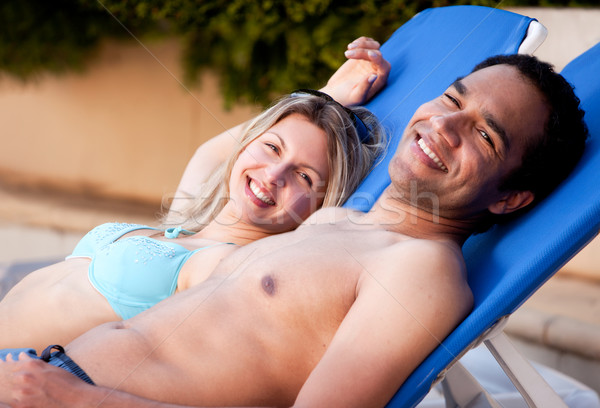 Happy Couple Outdoor Pool Stock photo © SimpleFoto