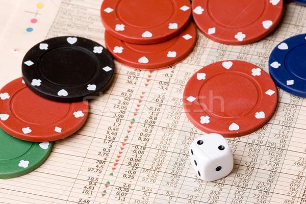 Фондовый рынок Gamble Dice фишки казино диаграммы деньги Сток-фото © SimpleFoto