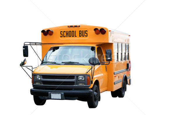 Iskolabusz citromsárga izolált fehér busz szállítás Stock fotó © SimpleFoto