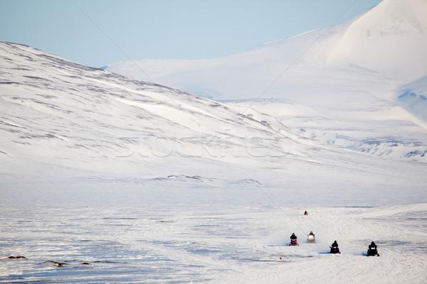 Stock photo: Snowmobile in Svalbard