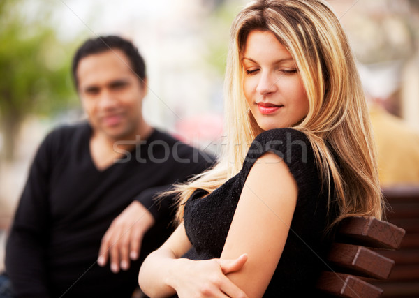 Shy Attractive Woman Stock photo © SimpleFoto