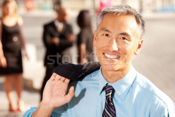 Foto stock: Quatro · pessoas · de · negócios · foco · feliz · advogado