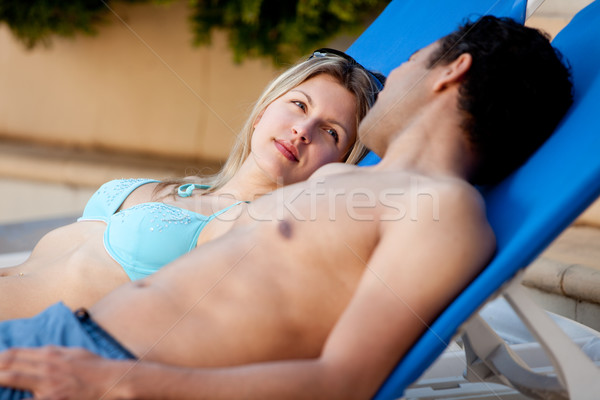 Attractive Couple by Pool Stock photo © SimpleFoto
