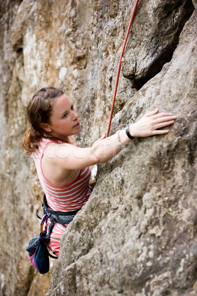 Női mászik felső kötél meredek kő Stock fotó © SimpleFoto
