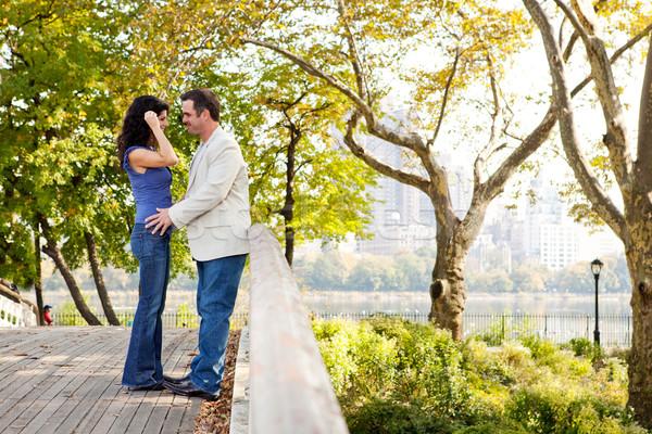 парка пару любви женщину девушки улыбка Сток-фото © SimpleFoto
