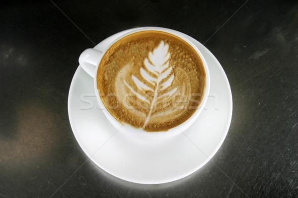 Cappuccino art café design feuille bar Photo stock © SimpleFoto
