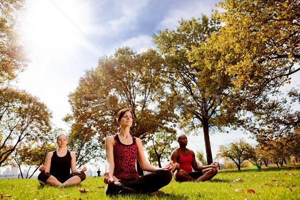 Parque yoga grupo de personas ciudad nina hierba Foto stock © SimpleFoto