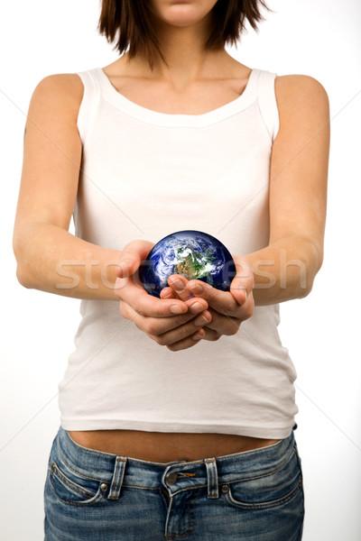 Сток-фото: земле · ухода · рук · женщину