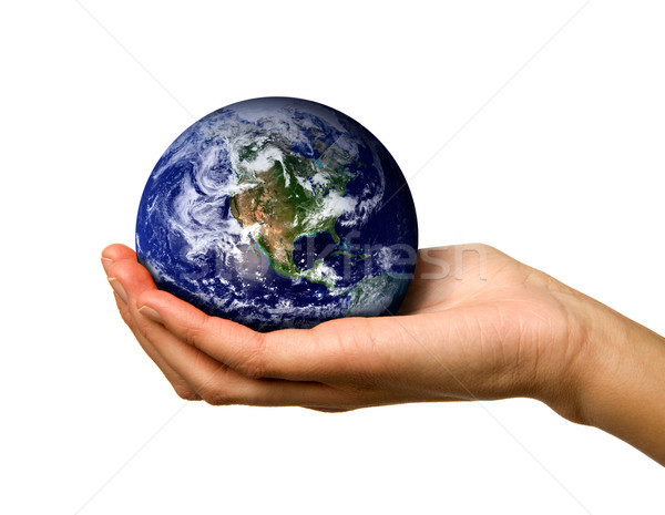 Hand holding World Stock photo © SimpleFoto