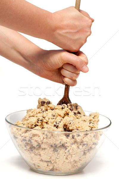 Foto stock: Cookie · grande · tazón · chocolate · chip