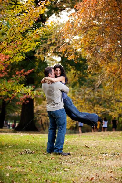 Foto stock: Hombre · mujer · abrazo · tener · feliz · Pareja