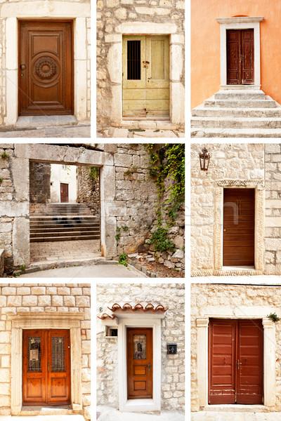 Stock fotó: öreg · fából · készült · ajtó · csoport · ajtók · kő
