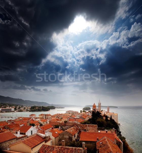 中世 町 劇的な 空 嵐 市 ストックフォト © SimpleFoto