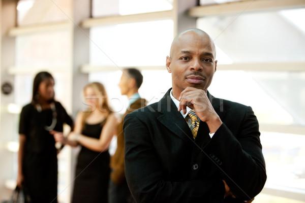 деловой человек афроамериканец человека счастливым бизнесмен Сток-фото © SimpleFoto