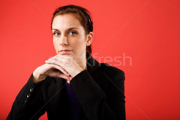 Mujer de negocios jóvenes contenido cámara mujer Foto stock © SimpleFoto