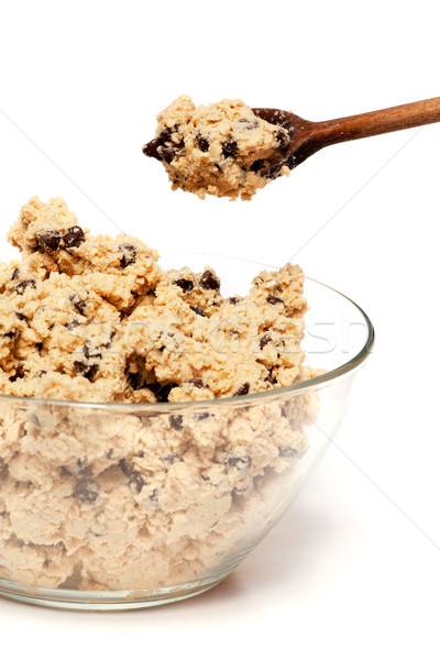 Foto stock: Cookie · tazón · crudo · chocolate · chip · textura