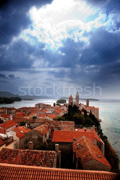 Medieval Town Dramatic Sky Stock photo © SimpleFoto