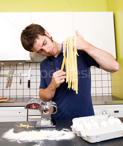 Homemade Pasta Fettuccine Stock photo © SimpleFoto