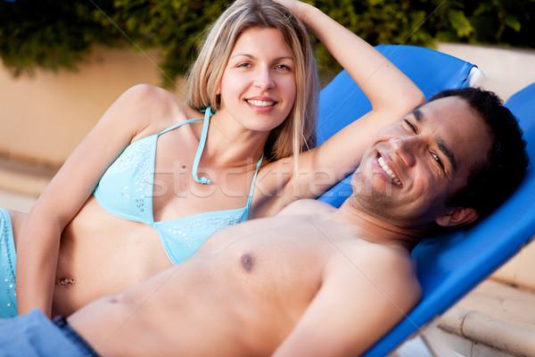 Happy Beach Couple Stock photo © SimpleFoto