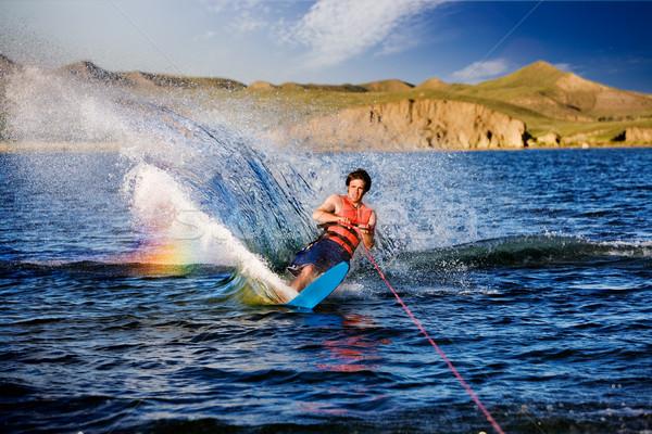 водные лыжи мужчины красивой озеро воды счастливым Сток-фото © SimpleFoto