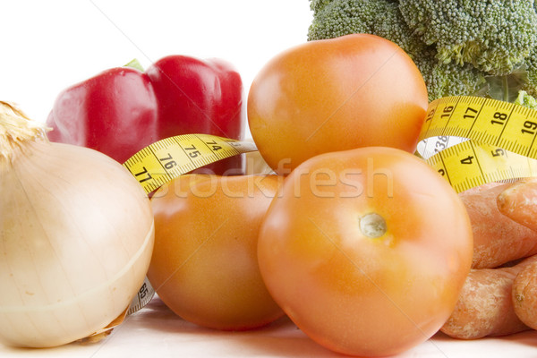 Vegetales grupo alimentos cinta métrica fitness jardín Foto stock © SimpleFoto