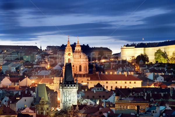 Praha zamek Cityscape widoku wcześnie wieczór Zdjęcia stock © SimpleFoto