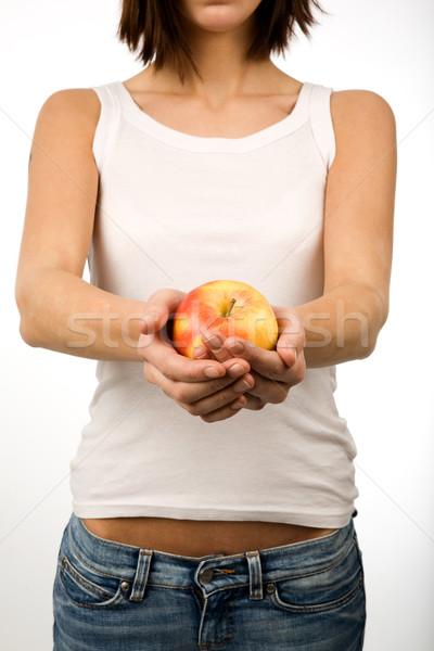 Manzana sonrisa frutas salud Foto stock © SimpleFoto