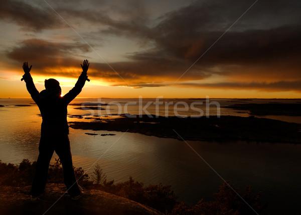 海 お祝い 人 立って 腕 女性 ストックフォト © SimpleFoto