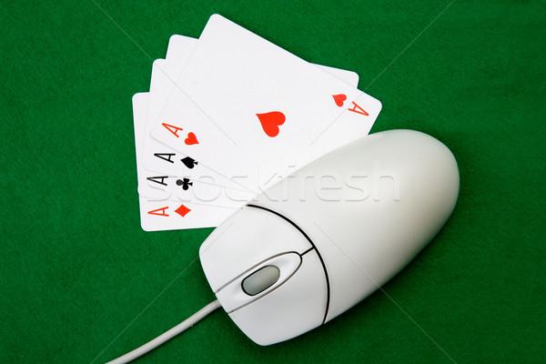 Online számítógépes játékok számítógép egér négy ászok zöld Stock fotó © SimpleFoto