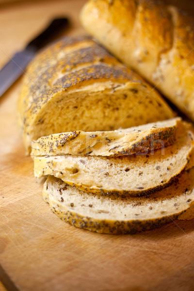 Friss kenyér házi készítésű hagyma rizs pipacs Stock fotó © SimpleFoto