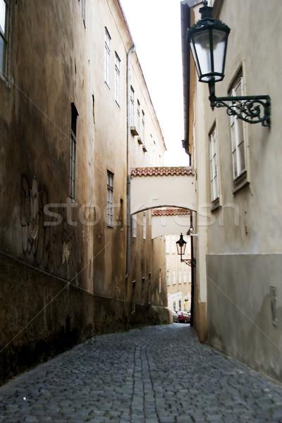 Szeszélyes utca Prága sötét kép kicsi Stock fotó © SimpleFoto
