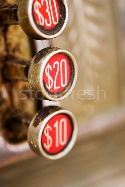 Rétro 20 bouton sale caisse enregistreuse peu profond Photo stock © SimpleFoto
