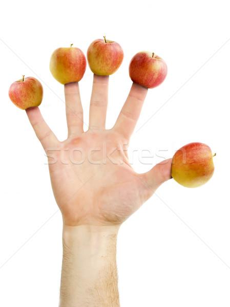 Foto stock: Maçã · dia · médico · longe · cinco · maçãs