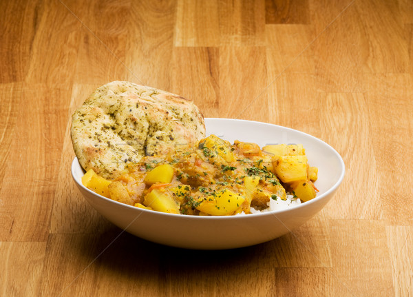 Comida indiana indiano refeição batata caril pão Foto stock © SimpleFoto