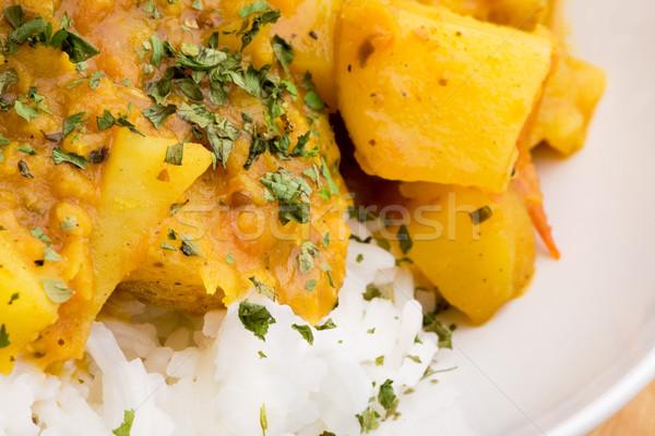 Indiai étel részlet makró krumpli curry lencse Stock fotó © SimpleFoto
