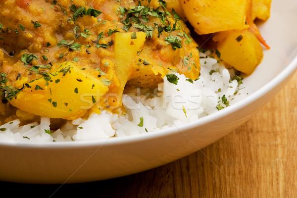 Indiai étel makró krumpli curry lencse kenyér Stock fotó © SimpleFoto
