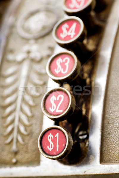 Une dollar bouton vintage caisse enregistreuse métal Photo stock © SimpleFoto