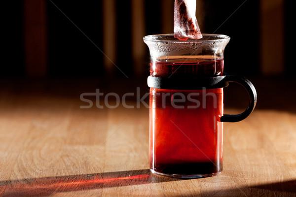 Stok fotoğraf: çay · çanta · fincan · sıcak · su · güçlü · sabah