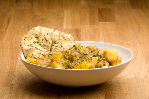 Indiai étel indiai étel krumpli curry kenyér Stock fotó © SimpleFoto
