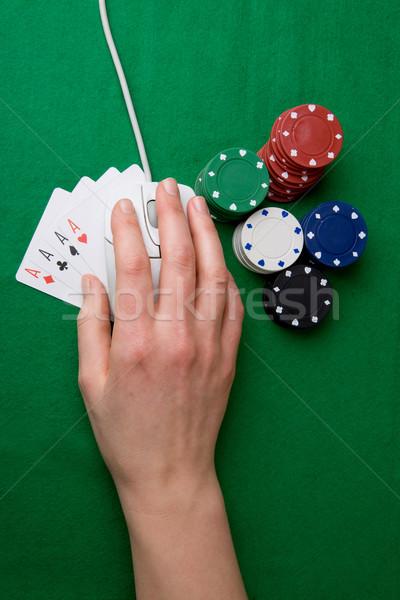Сток-фото: онлайн · покер · игорный · Компьютерная · мышь · стороны · фишки · казино