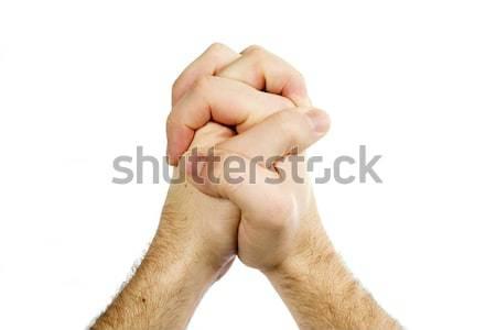 Modląc ręce odizolowany mężczyzna biały Zdjęcia stock © SimpleFoto