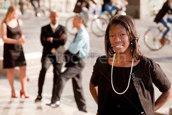афроамериканец деловой женщины портрет улице лице счастливым Сток-фото © SimpleFoto