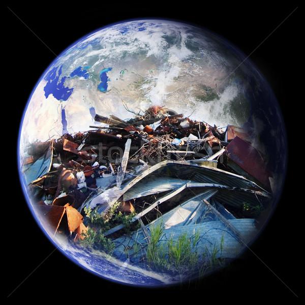 Szeméttelep Föld nagy köteg szemét dupla Stock fotó © SimpleFoto