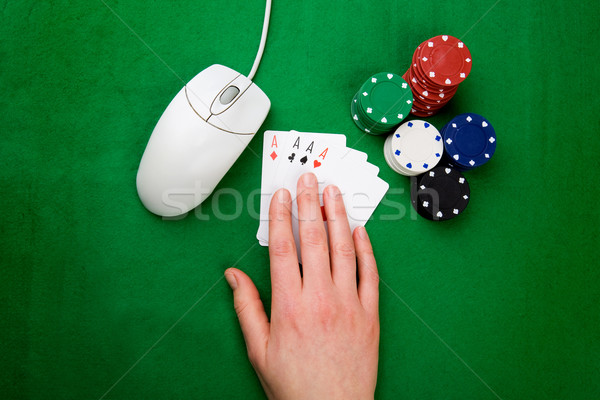 Línea póquer mano Internet ratón casino Foto stock © SimpleFoto