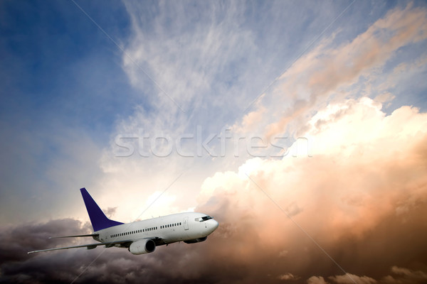Airplane Sunset Stock photo © SimpleFoto