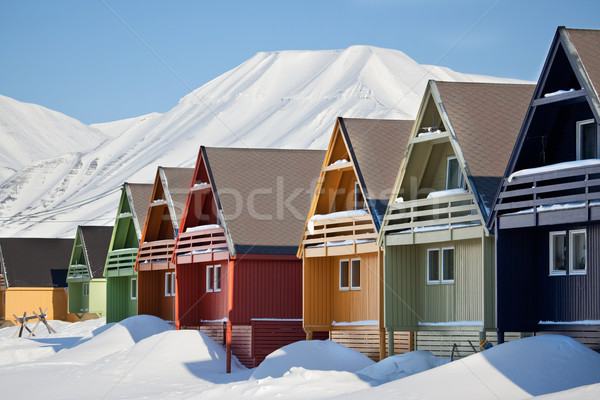 Норвегия дома город пейзаж снега Сток-фото © SimpleFoto