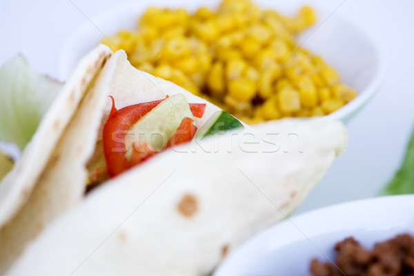 Taco detail macro bereid ingrediënten voedsel Stockfoto © SimpleFoto