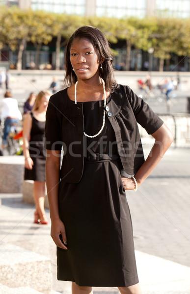 деловой женщины портрет афроамериканец улице лице счастливым Сток-фото © SimpleFoto