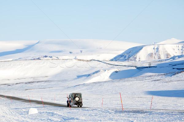 Terméketlen tájkép teherautó vezetés hó jég Stock fotó © SimpleFoto