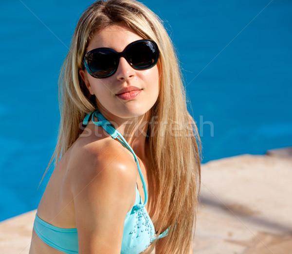 プール モデル サングラス 座って 水 ストックフォト © SimpleFoto